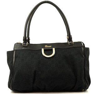 Auth Gucci Handbag Black Canvas #3283G20